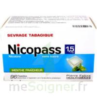 NICOPASS 1,5 mg Past sans sucre menthe fraîcheur Plq/96 à Bordeaux