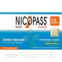 NICOPASS MENTHE FRAICHEUR 2,5 mg SANS SUCRE, pastille édulcorée à l'aspartam et à l'acésulfame potassique à Bordeaux